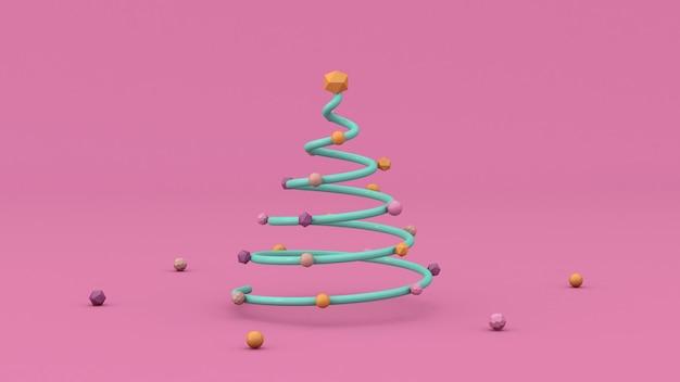 Minimalistische kerstboom. gloeiende decoratie. de abstracte 3d illustratie, geeft terug.