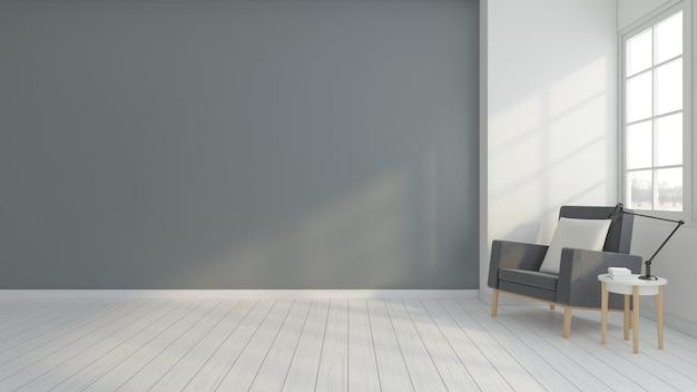 Minimalistische lege ruimte met fauteuil en bijzettafel met grijze muur. 3d-weergave