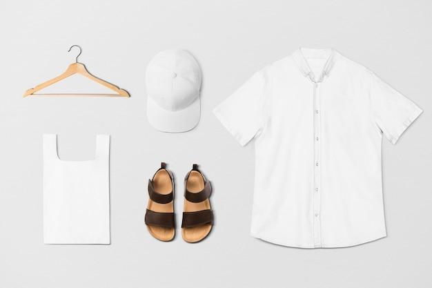 Minimalistische modeset voor unisex kleding