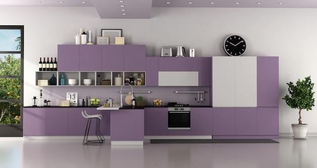 Minimalistische paarse en witte moderne keuken