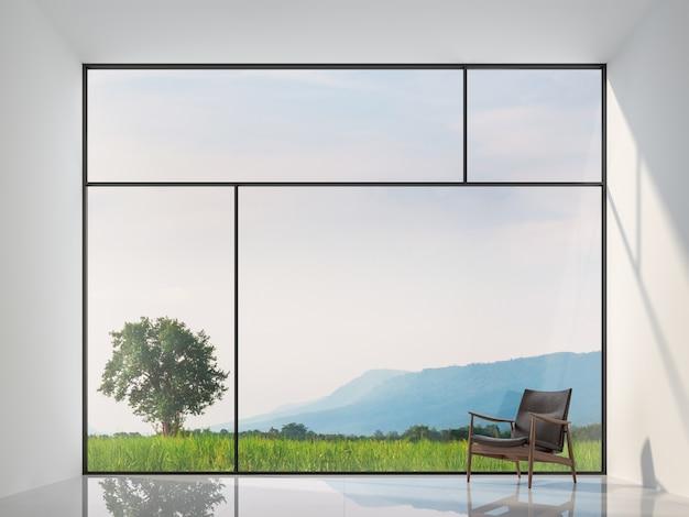 Minimalistische stijl lege kamer met uitzicht op de natuur 3d render groot raam met uitzicht op uitzicht op de natuur