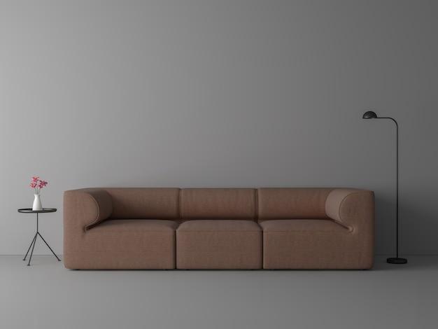 Minimalistische stijl woonkamer 3d render grijze vloer en muur ingericht met roodbruine stoffen bank