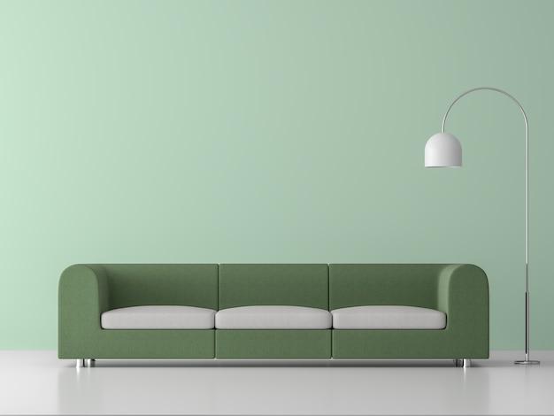 Minimalistische stijl woonkamer 3d renderlicht groene lege muur ingericht met groene stoffen bank