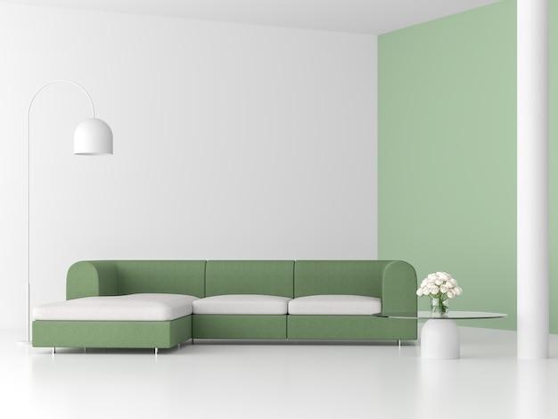 Minimalistische stijl woonkamer 3d renderpastel groene muur ingericht met groene stoffen bank