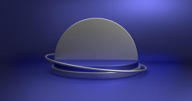 Minimalistische vitrine met lege ruimte. leeg podium voor weergaveproduct. 3d-weergave.