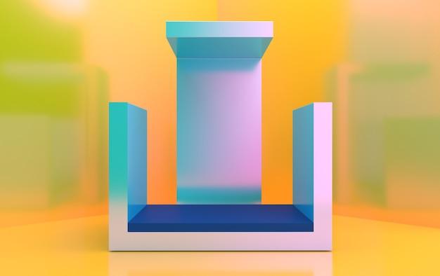 Minimalistische vitrine met lege ruimte. ontwerp voor productpresentatie in trendy, moderne stijl. 3d render.
