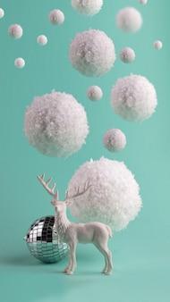 Minimalistische wintersamenstelling met grote vliegende sneeuwballen en witte herten.