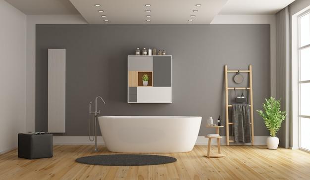 Minimalistische witte en grijze badkamer