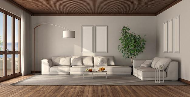 Minimalistische witte woonkamer met houten plafond