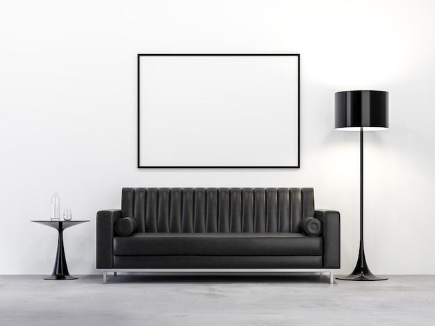 Minimalistische woonkamer in loft-stijl met lege fotolijst 3d render witte muur betonnen vloer