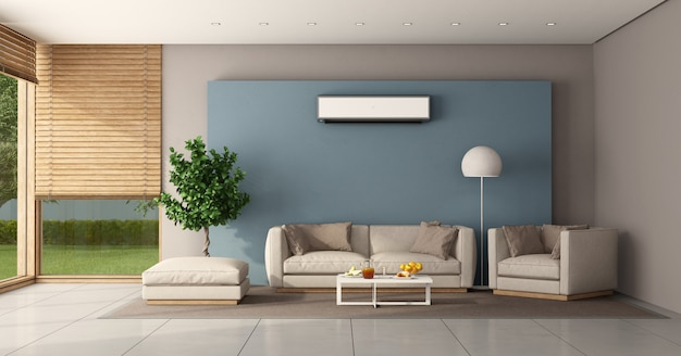 Minimalistische woonkamer met airconditioning