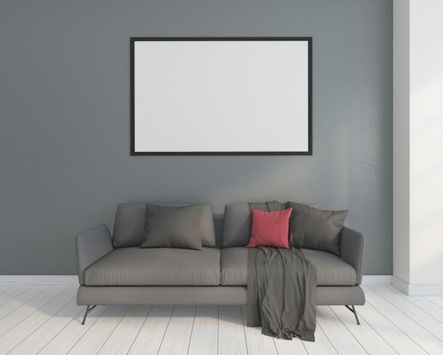 Minimalistische woonkamer met bank en fotolijst. 3d-weergave
