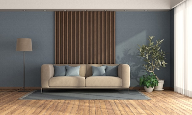 Minimalistische woonkamer met bank tegen houten paneel en blauwe muur - het 3d teruggeven