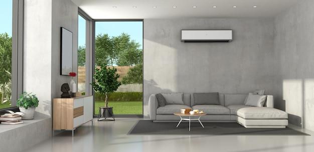 Minimalistische woonkamer met modern meubilair en airconditioning aan de muur