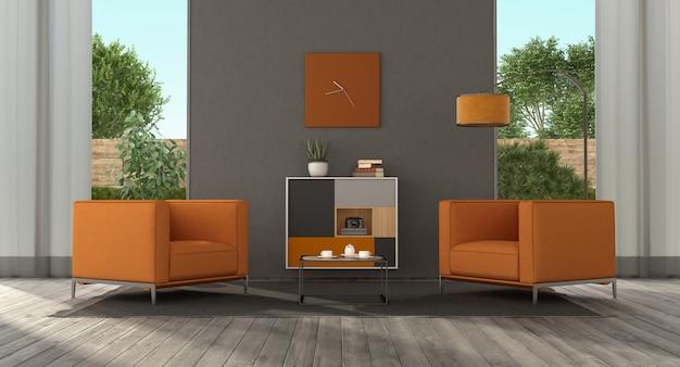 Minimalistische woonkamer met oranje fauteuil en dressoirs
