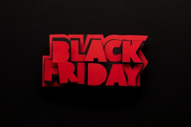Minimalistische zwarte vrijdag geschreven in rode kleur