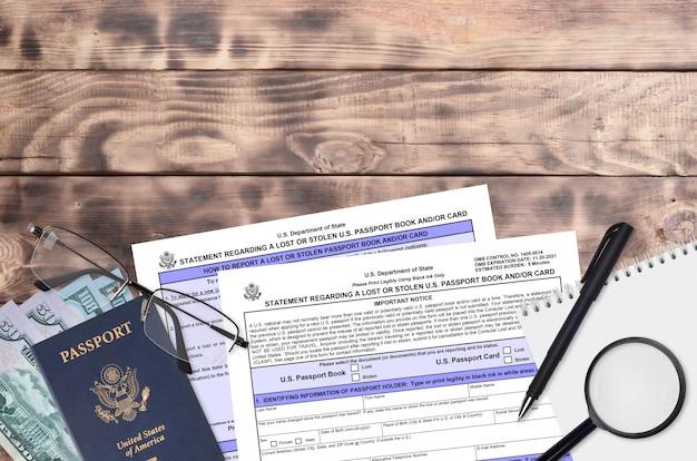 Ministerie van buitenlandse zaken formulier ds64 verklaring met betrekking tot een verloren of gestolen amerikaans paspoortboek en / of kaart
