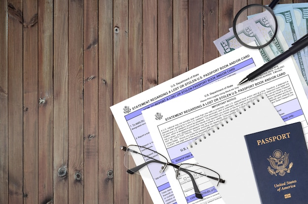 Ministerie van buitenlandse zaken formulier ds64 verklaring met betrekking tot een verloren of gestolen amerikaans paspoortboek