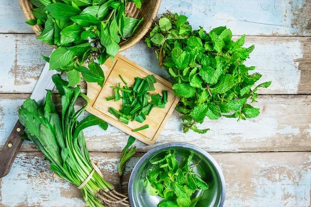 Mintkruiden en culantro-kruiden voor de gezondheid
