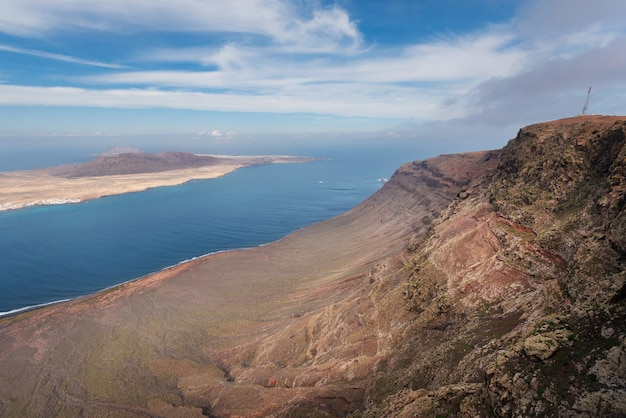 Mirador del rio beroemde toeristische attractie in lanzarote, canarische eilanden, spanje.