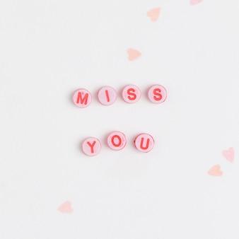 Miss you kralen bericht typografie