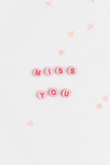 Miss you kralen woord typografie