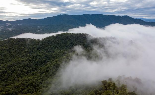 Mist en wolken met berg. bovenaanzicht