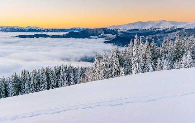 Mist in de winter bergen. fantastische zonsondergang. karpaten oekraïne