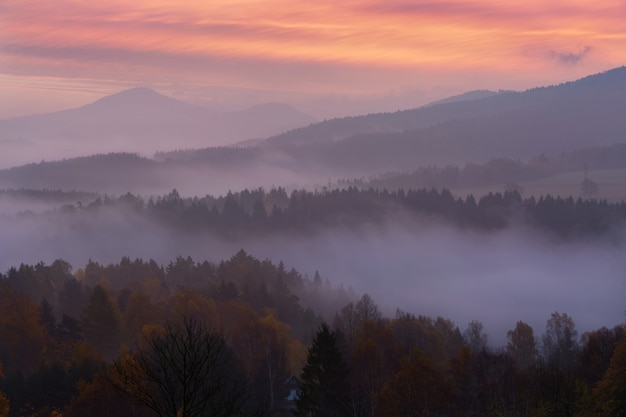 Mistige ochtend over het boheemse zwitserland