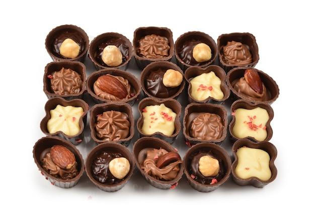 Mix van smakelijke chocolade snoep collectie.