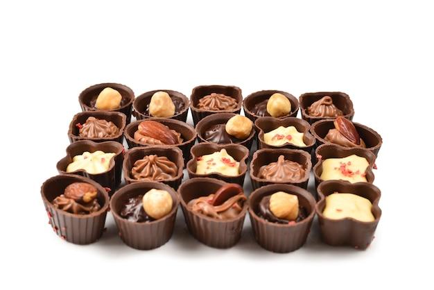 Mix van smakelijke chocoladesuikergoedcollectie.