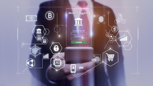 Mobiel bankieren concept.business man handen met mobiele telefoon