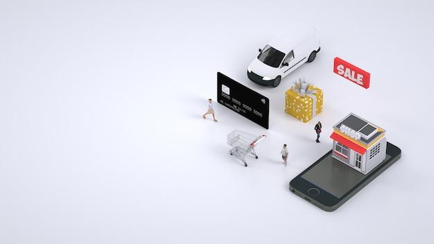 Mobiel betalen voor aankopen met kaart. bestelling. concept van mobiel betalen voor bestellingen via internet en smartphone. 3d-graphics.