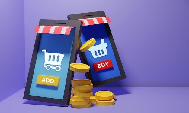 Mobiel winkelproces met munten