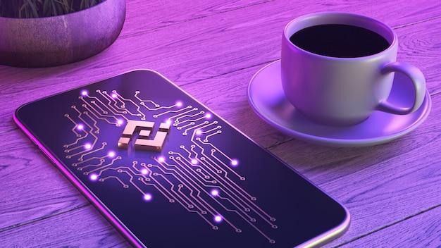 Mobiele cryptocurrency trading concept. de smartphone ligt op een houten tafel, naast een kop aromatische koffie.