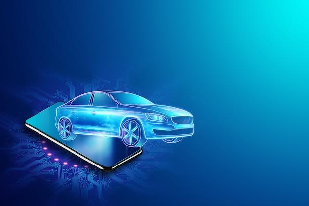 Mobiele gps-navigatie, hologramafbeelding van een auto die het smartphonescherm verlaat. 3d-rendering, 3d-afbeelding.