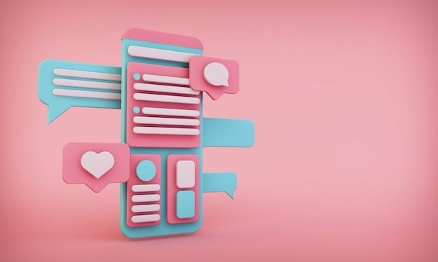 Mobiele interface op roze achtergrond