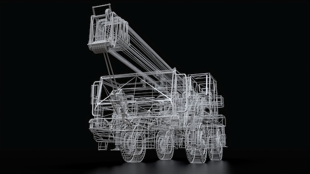 Mobiele kraan met gaas. driedimensionale afbeelding. 3d-rendering.