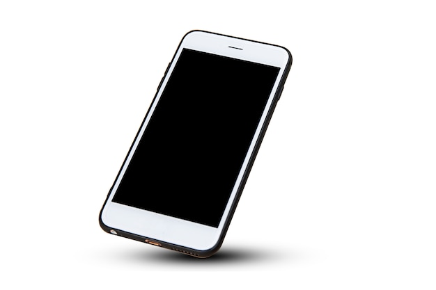 Mobiele slimme telefoon op witte technologie als achtergrond