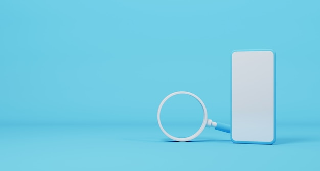 Mobiele smartphone en vergrootglas op lichtblauwe achtergrond. zoeken naar informatiegegevens in slimme telefoon op internetnetwerkconcept. 3d illustratie