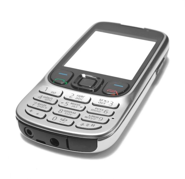 Mobiele technologie. moderne mobiele telefoon op wit wordt geïsoleerd