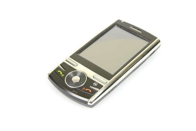 Mobiele telefoon die op een wachtachtergrond wordt geïsoleerd