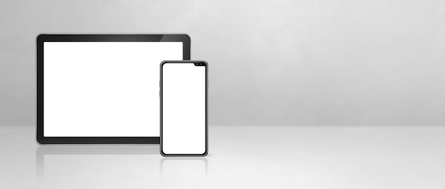 Mobiele telefoon en digitale tabletpc op wit concreet bureau. horizontale banner als achtergrond. 3d-afbeelding