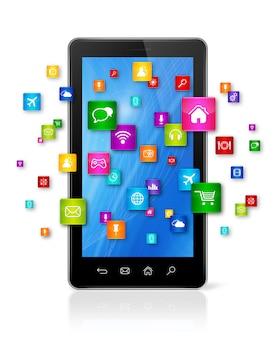 Mobiele telefoon en vliegende apps pictogrammen