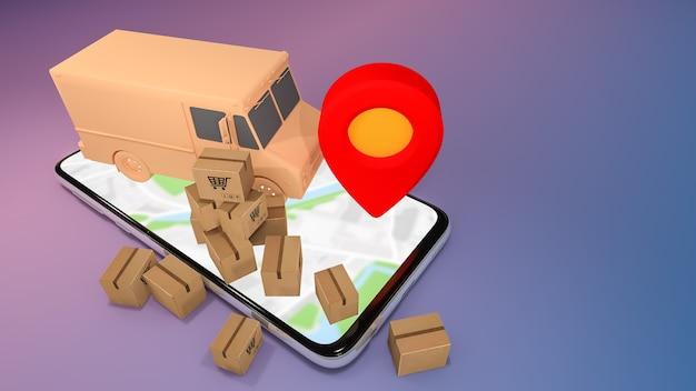 Mobiele telefoon en vrachtwagenbusje met veel papieren doos en rode speldwijzers