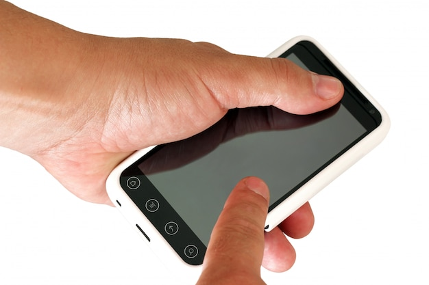 Mobiele telefoon in de hand van een man.