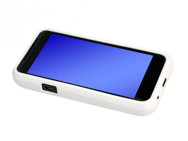 Mobiele telefoon in een cover met een leeg scherm. geïsoleerd.