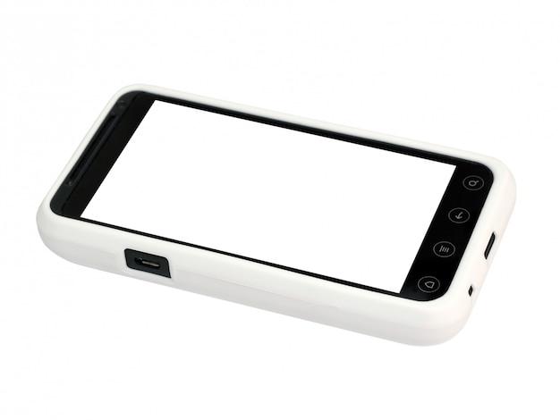 Mobiele telefoon in een witte cover met een leeg scherm. geïsoleerd.