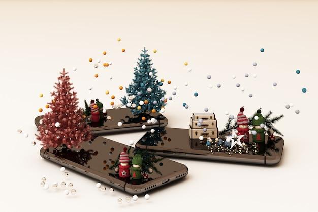 Mobiele telefoon met de kerstboom van kerstmisdecoratie en giften naast bij het witte 3d teruggeven