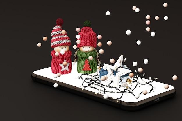 Mobiele telefoon met de kerstboom van kerstmisdecoratie en giften naast bij het zwarte 3d teruggeven